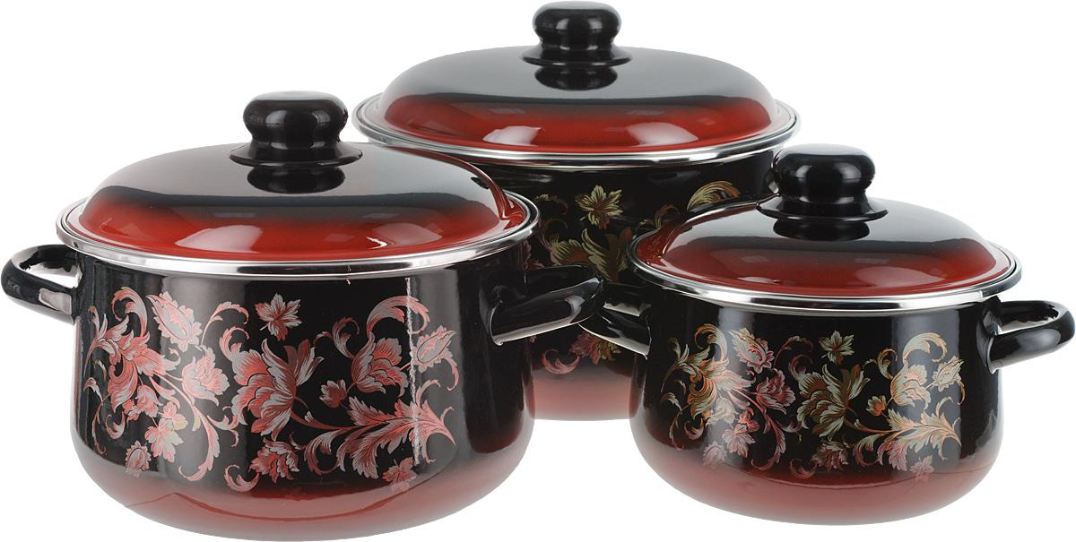 Набор кастрюль СтальЭмаль Драгоценный с крышками, цвет: черный, красный, 6 предметов набор мисок bohmann голубые цветы с крышками 6 предметов
