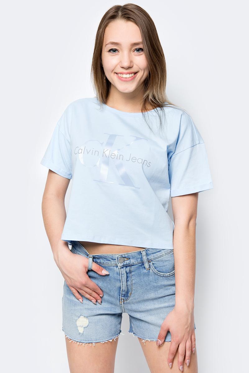 Футболка женская Calvin Klein Jeans, цвет: голубой. J20J207039_4000. Размер XS (40/42) брюки женские calvin klein jeans цвет синий j20j206907 4960 размер xs 40 42