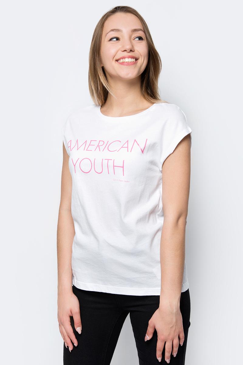 Футболка женская Calvin Klein Jeans, цвет: белый. J20J207025_1120. Размер XS (40/42) брюки женские calvin klein jeans цвет синий j20j206907 4960 размер xs 40 42