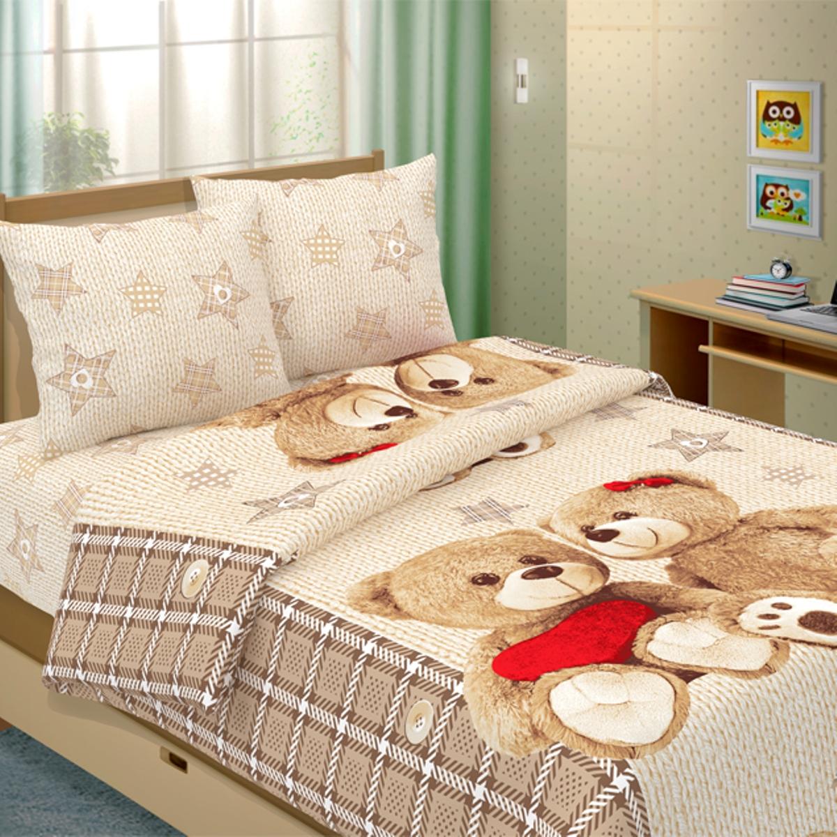Комплект детского постельного белья Letto  Влюбленные мишки , 1,5 спальный, наволочка 50x70. lovers-bears50 -  Детский текстиль
