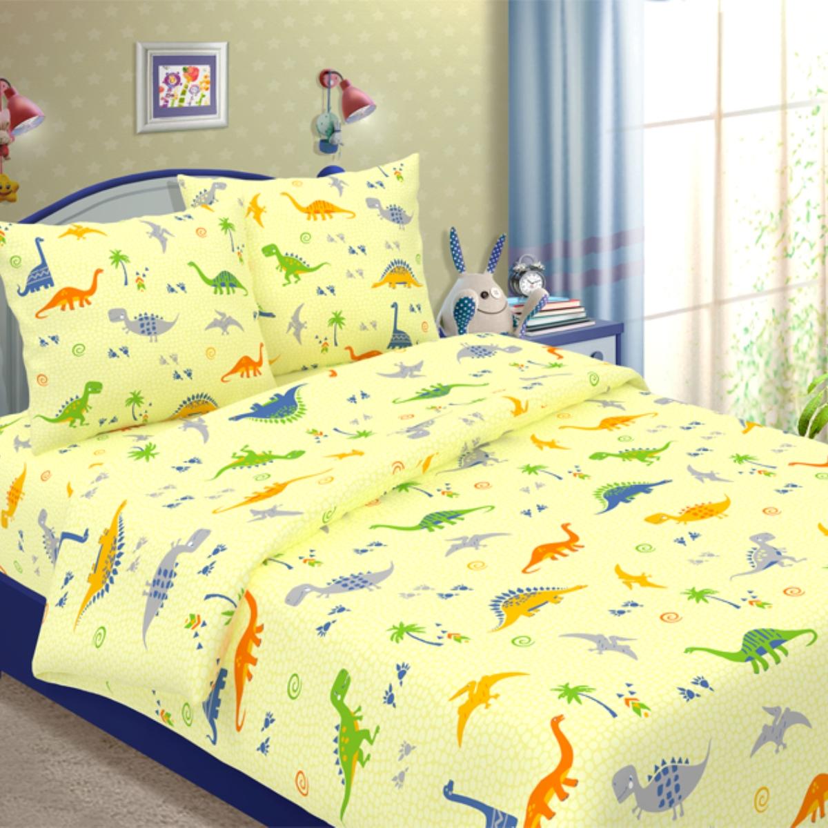 Комплект детского постельного белья Letto  Динно , 1,5 спальный, наволочка 50x70. dinno_yellow50 -  Детский текстиль
