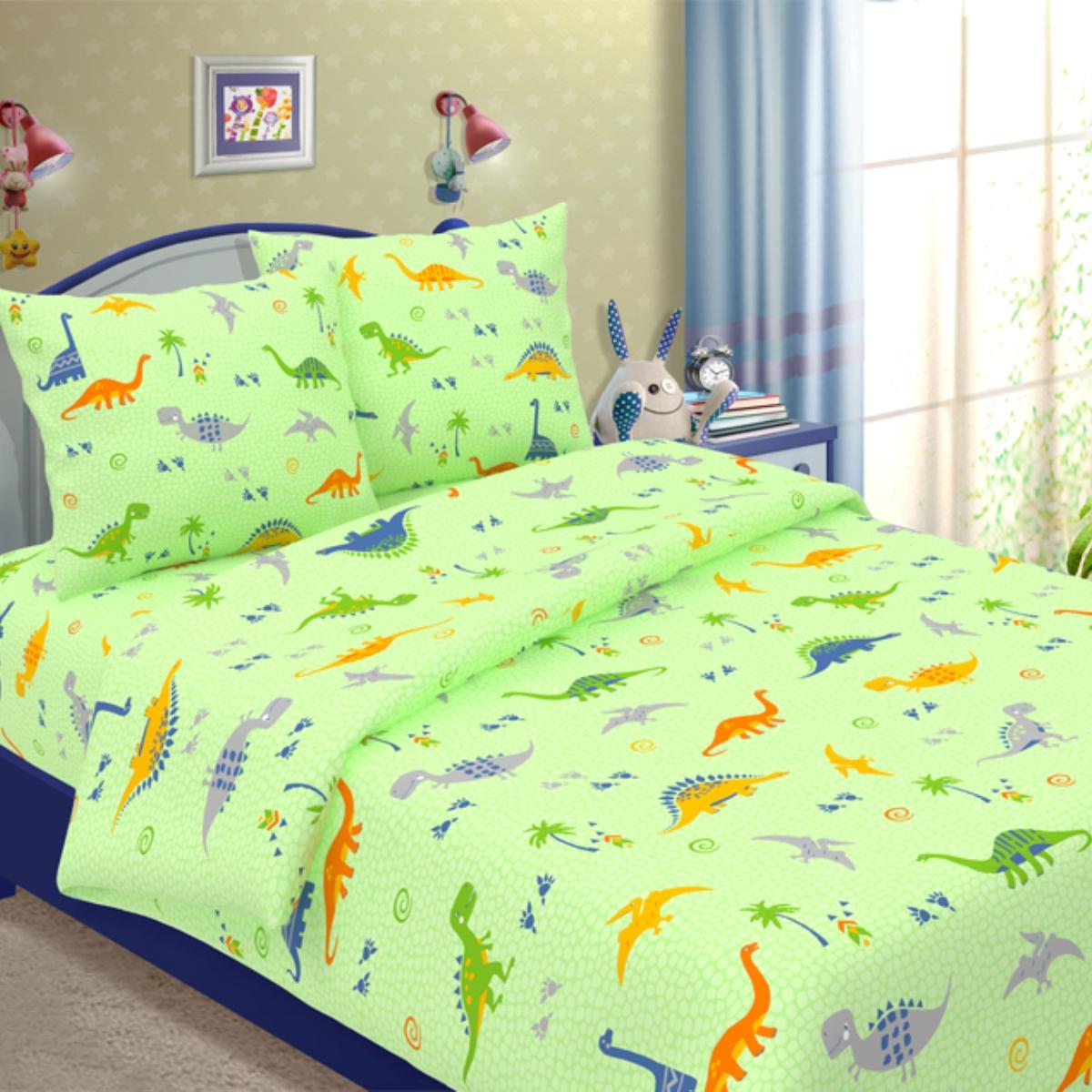 Комплект детского постельного белья Letto  Динно , 1,5 спальный, наволочка 50x70. dinno_green50 -  Детский текстиль