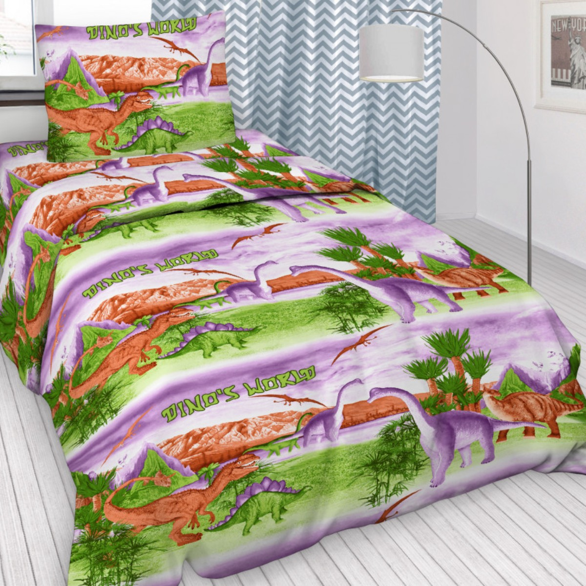 Комплект детского постельного белья Letto  Динозавры , 1,5 спальный, наволочка 50x70. dinozavry50 -  Детский текстиль