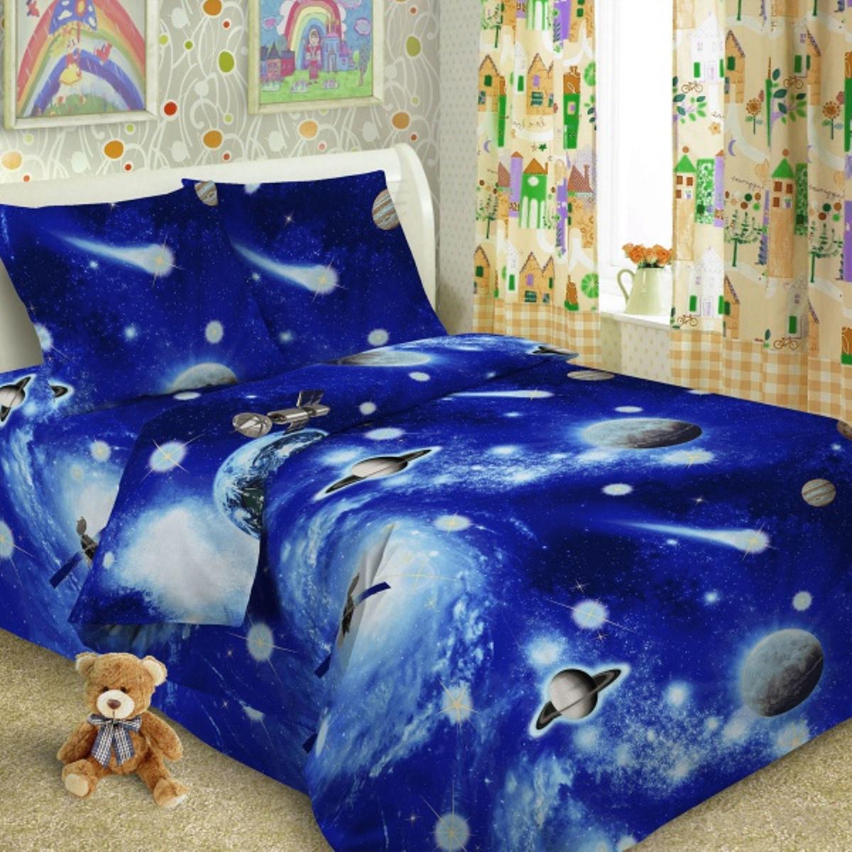 Комплект детского постельного белья Letto  Космос , 1,5 спальный, наволочка 50x70. kosmos50 -  Детский текстиль