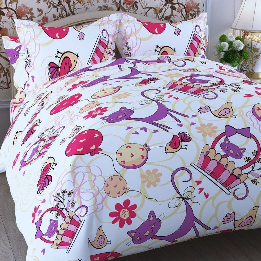 Комплект детского постельного белья Letto  Кошки и птицы , 1,5 спальный, наволочка 50x70. cat-bird50 -  Детский текстиль