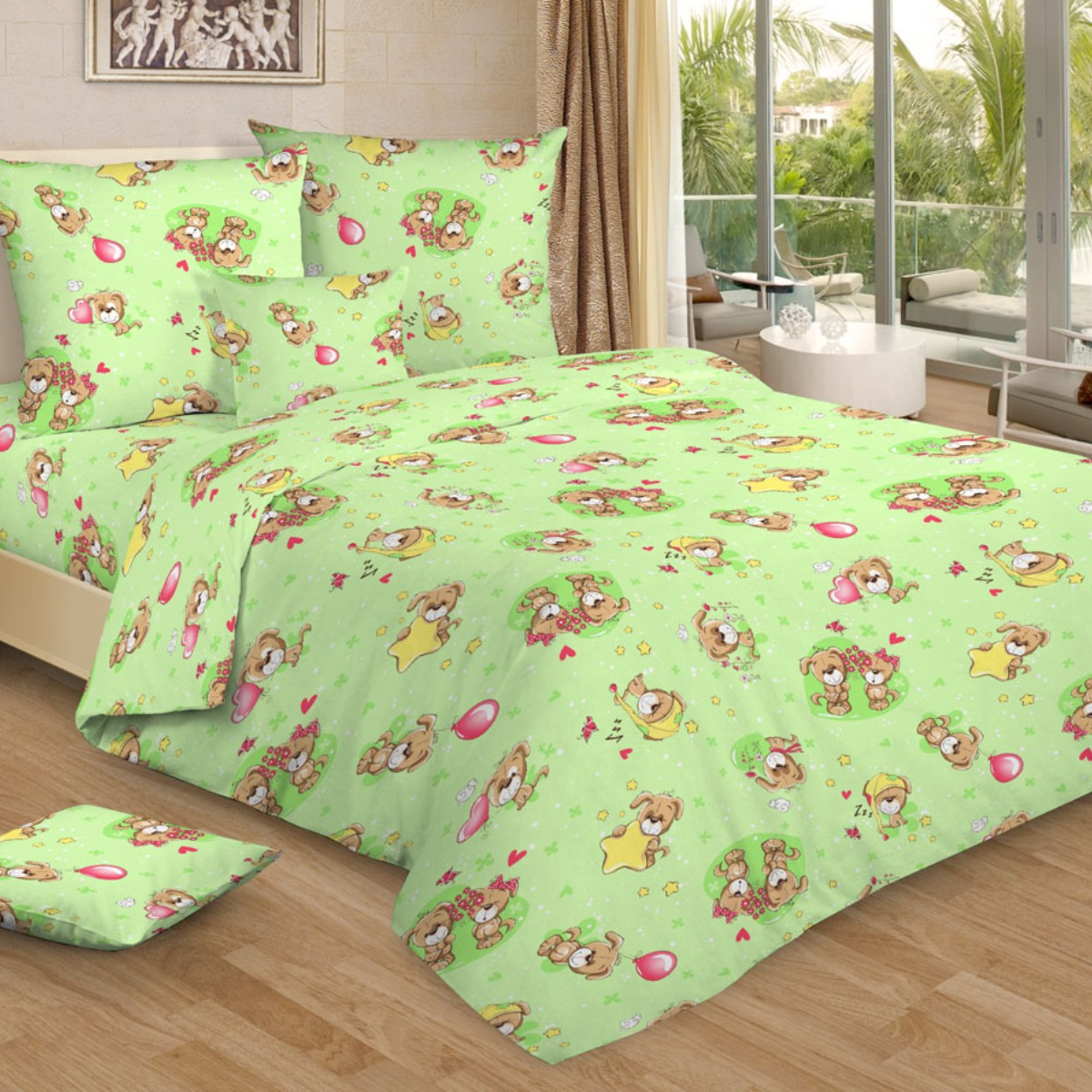 Letto Комплект в кроватку Ясли с простыней на резинке 3 предмета BGR-75