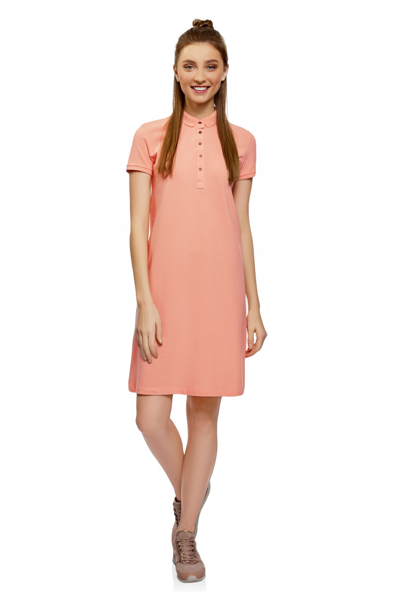 Платье oodji Collection, цвет: коралловый. 24001118-4B/48433/4300N. Размер XL (50)