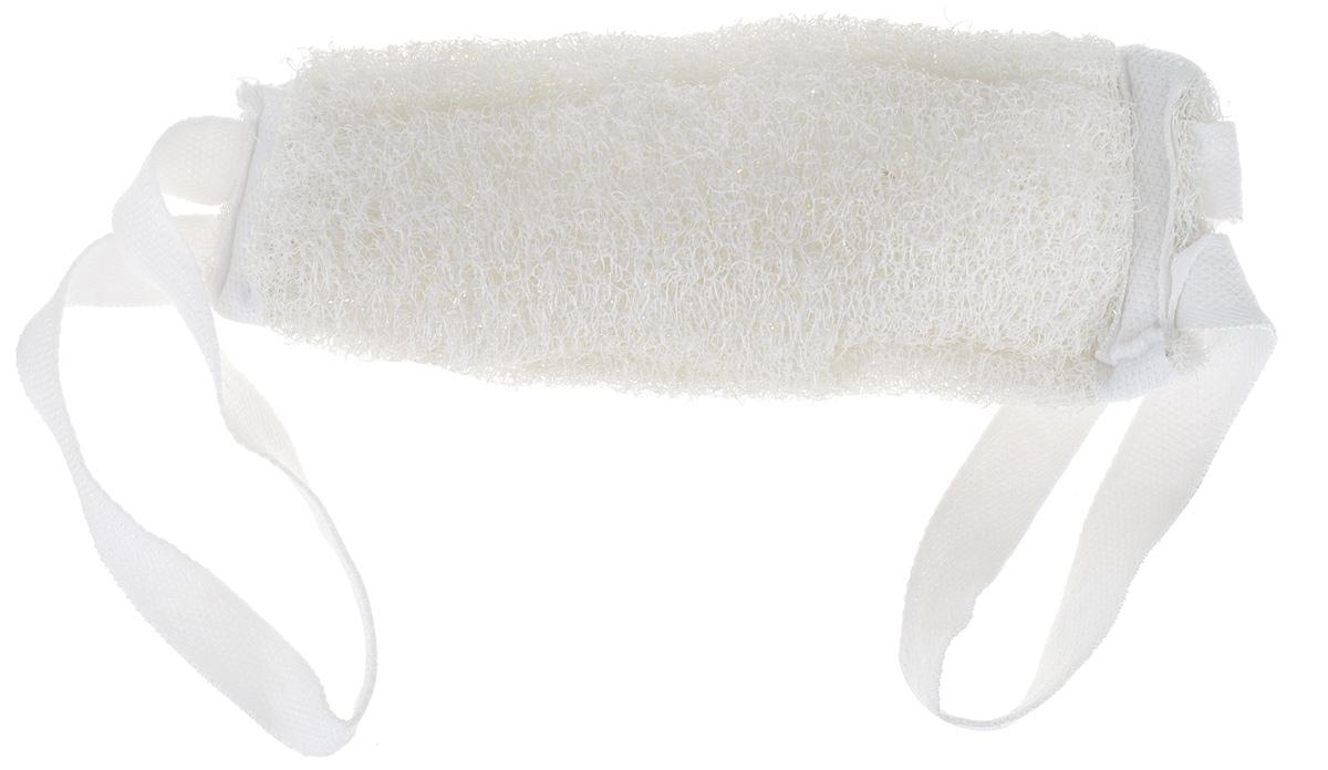 Мочалка натуральная с ручками Eva, цвет: белый мочалка eva с петлей