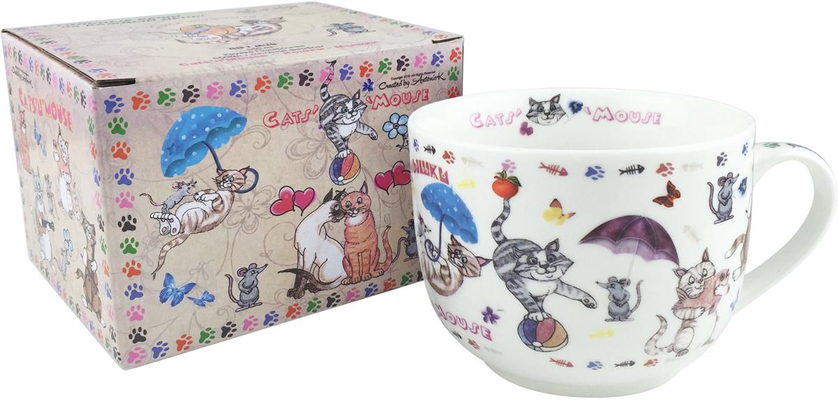 Кружка GiftLand Кошки-Мышки, 550 мл кружка giftland фантазии о лошадях 700мл кост фарфор под ко