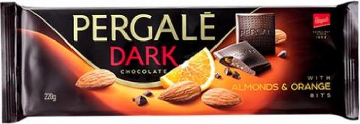 Pergale Шоколад темный с карамелизированным миндалем и апельсином, 220 г baron тирамису темный шоколад с начинкой 100 г