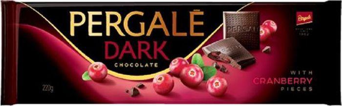 Pergale Шоколад темный с клюквой, 220 г baron тирамису темный шоколад с начинкой 100 г