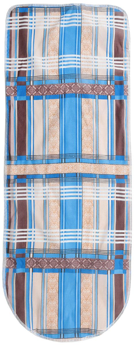 """Чехол для гладильной доски """"Detalle"""" вензель, универсальный, цвет: белый, синий, 125 х 47 см, Eva"""