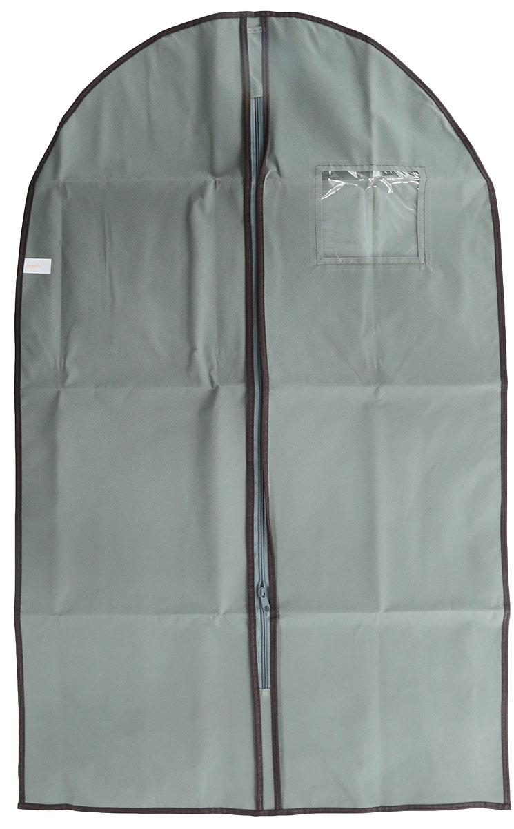 Чехол для одежды Хозяюшка Мила, тканевый, цвет: серый, 60 х 100 см чехол для одежды hausmann подвесной с прозрачной вставкой цвет серый 60 х 100 см