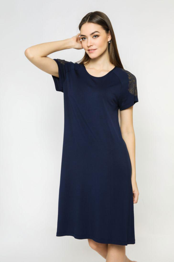 Платье домашнее женское Melado Sandal, цвет: темно-синий. 8204L-70026.1S-736.429. Размер 52 kogankids kogankids платье синий принт