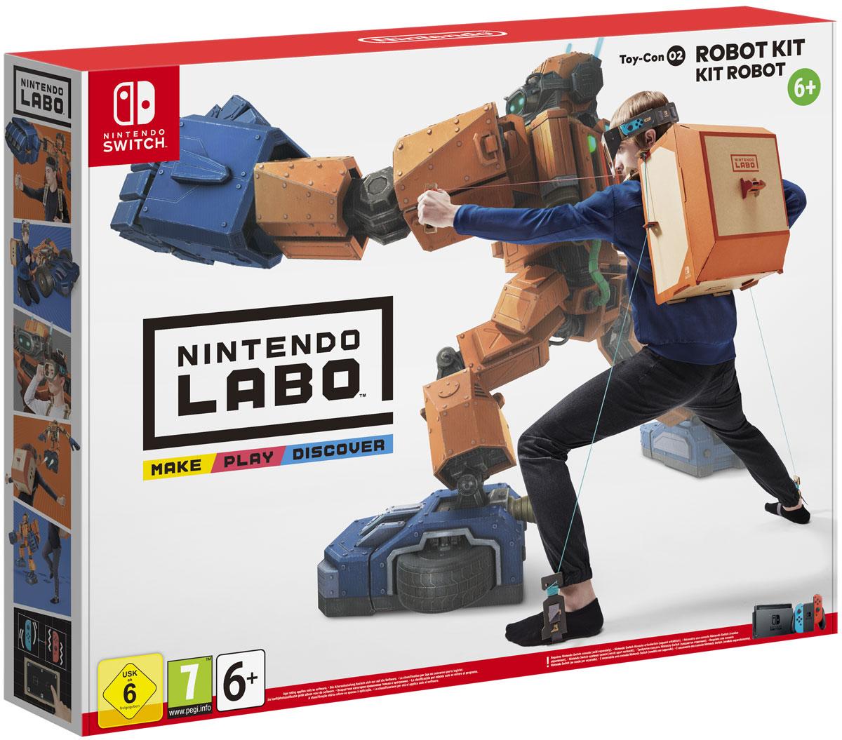 Nintendo Labo: набор Робот045496421595Nintendo Labo пробудит ваше желание творить и исследовать.В сочетании с консолью Nintendo Switch наборы Nintendo Labo предоставляют инструменты и технологии, которыепомогут воплотить ваши идеи в реальность и создавать новые игры.Собирайте аксессуары под названием Toy-Con из модульных картонных листов, которые входят в каждый наборNintendo Labo. Добавьте к ним консоль Nintendo Switch и контроллеры Joy-Con, и тогда аксессуары Toy-Conпревратятся в фортепиано, мотоцикл, робота и т. д. Сам процесс сборки превратится в увлекательную игру. Высможете разобраться, как работает эта технология, и даже изобретать новые способы игры с каждымаксессуаромToy-Con.Из набора «Робот» можно собрать носимый костюм робота. Наденьте костюм, и вы сможете управлять роботомдвижениями своего тела.Устройте настоящий разгром в городе на экране телевизора, к которому подключена консоль Nintendo Switch. Высможете разрушать абсолютно всё: здания, машины и даже НЛО.Робот сможет трансформироваться в автомобиль и в самолет, открывая перед вами новые перспективы и игровыевозможности.Все необходимое уже включено в набор: игровая карта Nintendo Switch, картонные листы, листы с наклейками,шнуры и люверсы. Для сборки аксессуаров Toy-Con клей или ножницы не требуются.