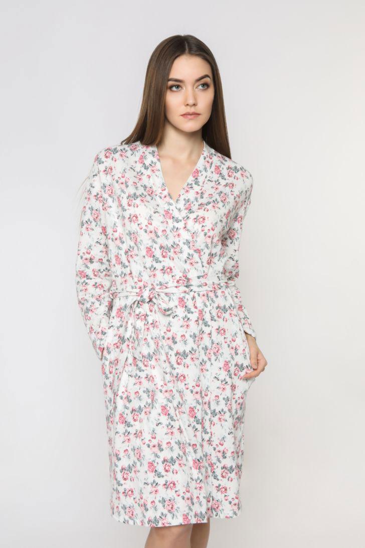 Халат женский Melado Pretty, цвет: розовый. 8206P-75003.1S-054. Размер 50 халат женский melado пейсли цвет розовый 8102l 75002 1s 051 размер 52
