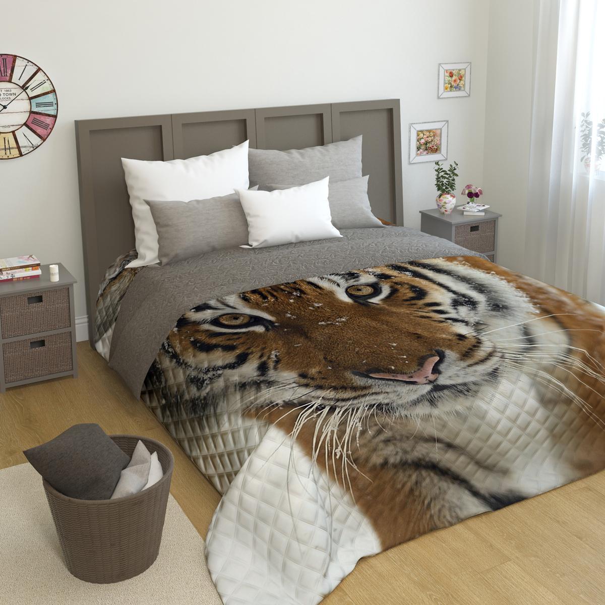"""Покрывало стеганое Сирень """"Сибирский тигр"""", 200 х 220 см"""