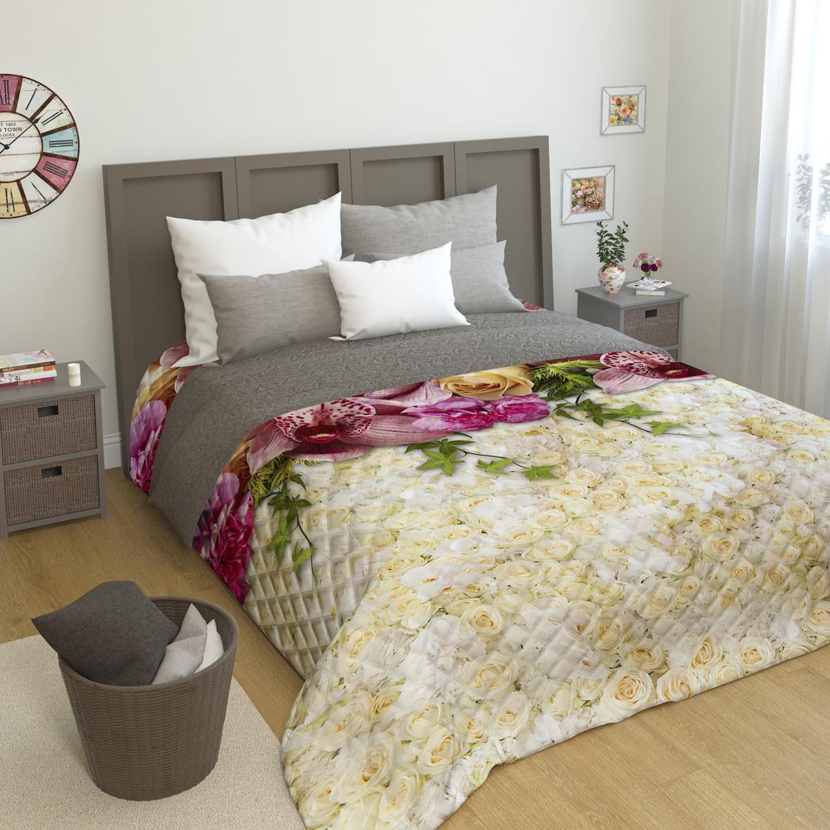 Покрывало стеганое Сирень Розы и орхидеи, 200 х 220 смПКМК005-09236Стеганое покрывало Сирень - это правильный выбор для любой хозяйки. Стеганые покрывала выгодно преобразят дизайн любого интерьера спальни. При изготовлении используется плотная микрофибра. В сочетании со стильным и четким рисунком, созданным с помощью 3D фотопечати стеганые покрывала всегда будут отличным приобретением для Вашей спальни и подарком для друзей и близких! Рисунок стежки выполнен современным способом Ультрастэп (без использования ниток). Использование данного способа стежки защищает от миграции волокна во время стирки в деликатном режиме при температуре 30 градусов. Размер 200*220 (+/- 2см ) Наволочки в комплект не входят. Покрывало легко стирать при 30-40 градусов, гладить при 150 градусах, не отбеливать. Цвет покрывала в комплектации может немного отличаться от представленного на фото.