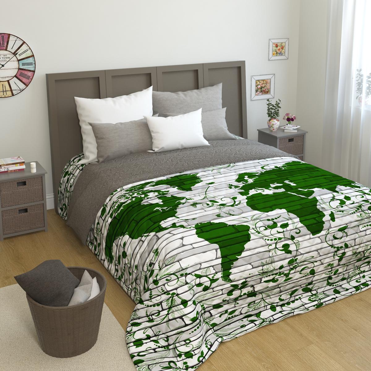 Покрывало стеганое Сирень Мировая карта, 200 х 220 смПКМК005-10326Стеганое покрывало Сирень - это правильный выбор для любой хозяйки. Стеганые покрывала выгодно преобразят дизайн любого интерьера спальни. При изготовлении используется плотная микрофибра. В сочетании со стильным и четким рисунком, созданным с помощью 3D фотопечати стеганые покрывала всегда будут отличным приобретением для Вашей спальни и подарком для друзей и близких! Рисунок стежки выполнен современным способом Ультрастэп (без использования ниток). Использование данного способа стежки защищает от миграции волокна во время стирки в деликатном режиме при температуре 30 градусов. Размер 200*220 (+/- 2см ) Наволочки в комплект не входят. Покрывало легко стирать при 30-40 градусов, гладить при 150 градусах, не отбеливать. Цвет покрывала в комплектации может немного отличаться от представленного на фото.