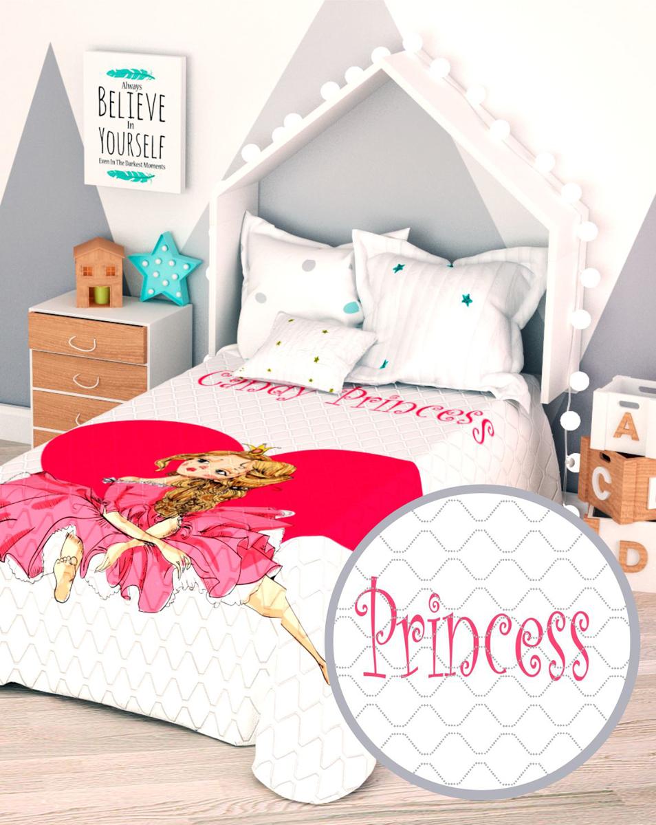 Покрывало стеганое Сирень Розовая принцесса, детское, 145 х 210 см покрывало стеганое сирень в синих узорах 200 х 220 см