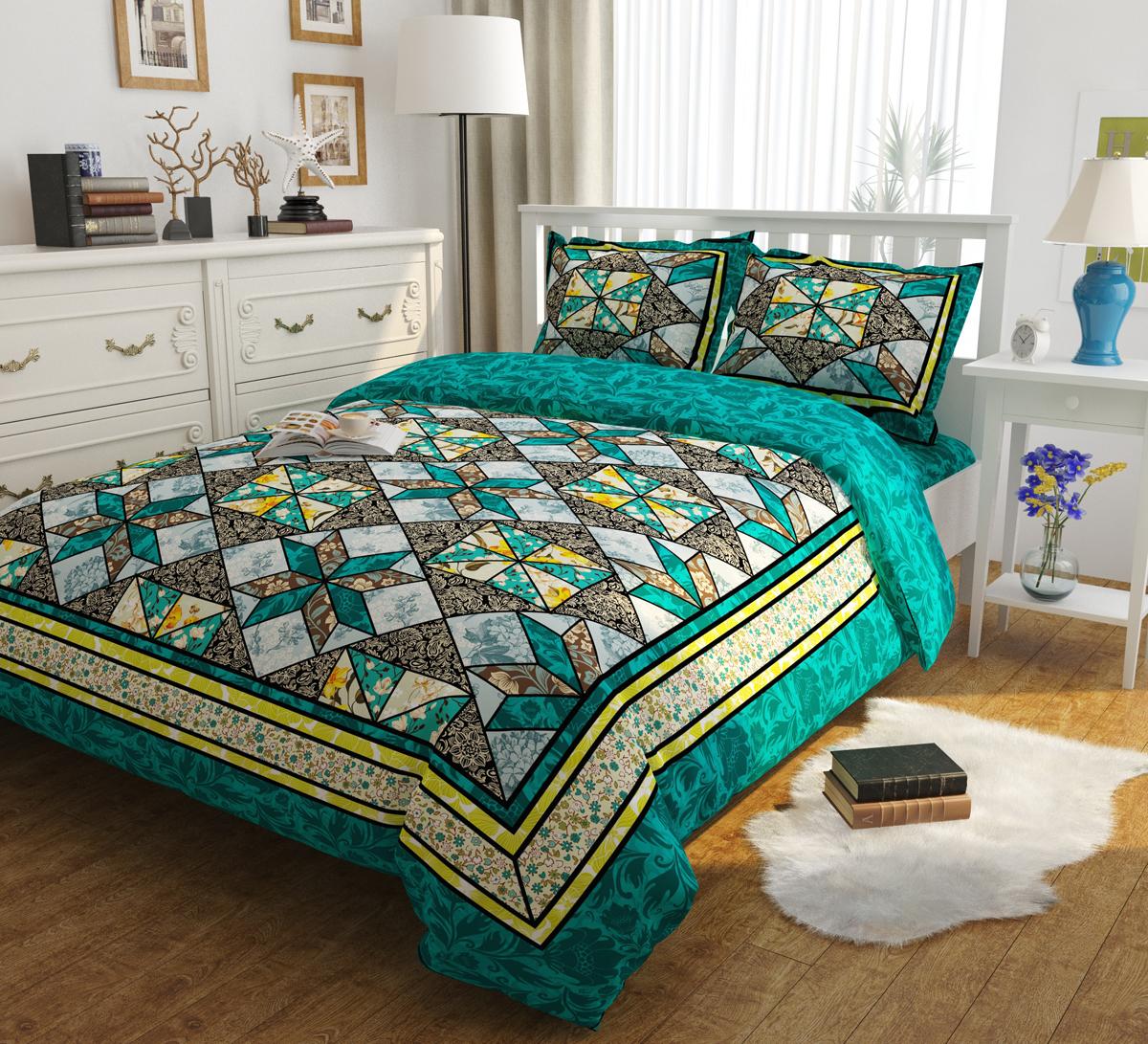 Комплект белья Сирень Изумрудные сны, евро, наволочки 50x70 смКПБЕМ-10443Комплект постельного белья Сирень Евро выполнен из прочной и мягкой ткани. Четкий и стильный рисунок в сочетании с насыщенными красками делают комплект постельного белья неповторимой изюминкой любого интерьера. Постельное белье Сирень - это хороший подарок в любое время. Идеальное соотношение смешенной ткани и гипоаллергенных красок это гарантия здорового, спокойного сна.Ткань хорошо впитывает влагу, надолго сохраняет яркость красок. Цвет простыни, пододеяльника, наволочки в комплектации может немного отличаться от представленного на фото.В комплект входят: простыня - 220х240см; пододельяник 200х220 см; наволочка - 50х70х2шт.Постельное белье легко стирать при 30-40 градусах, гладить при 150 градусах, не отбеливать. Рекомендуется перед первым использованием постирать.