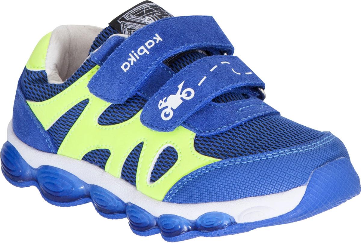 Кроссовки для мальчика Kapika, цвет: синий, салатовый. 72273-1. Размер 28