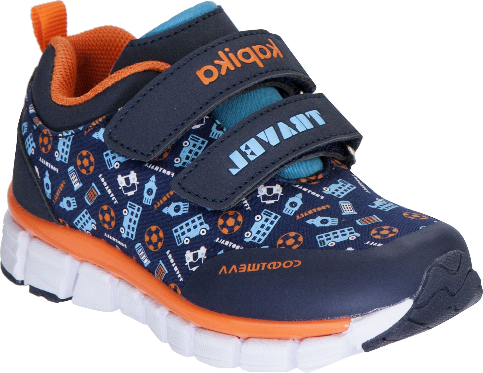 Кроссовки для мальчика Kapika, цвет: темно-синий, оранжевый. 71094. Размер 2271094Кроссовки от Kapika займут достойное место в гардеробе вашего ребенка! Модель изготовлена из текстиля и искусственной кожи. Хлястики на липучках, обеспечивают надежную фиксацию обуви на ноге. Внутренняя поверхность из текстиля, обеспечивает комфорт и предотвращает натирание. Стелька из текстиля сохраняет комфортный микроклимат в обуви. Рифленая поверхность подошвы защищает изделие от скольжения. Стильные и в то же время удобные кроссовки - необходимая вещь в гардеробе каждого ребенка.