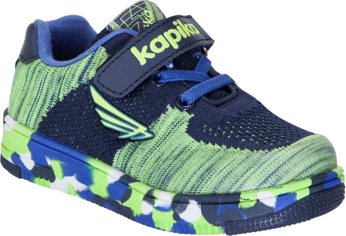 Кроссовки для мальчика Kapika, цвет: темно-синий. 72249-1. Размер 2872249-1Кроссовки от Kapika займут достойное место в гардеробе вашего ребенка! Модель изготовлена из текстиля и искусственной кожи. Классическая шнуровка и хлястик на липучке, обеспечивают надежную фиксацию обуви на ноге. Внутренняя поверхность из текстиля, обеспечивает комфорт и предотвращает натирание. Стелька из кожи и текстиля сохраняет комфортный микроклимат в обуви. Рифленая поверхность подошвы защищает изделие от скольжения. Стильные и в то же время удобные кроссовки - необходимая вещь в гардеробе каждого ребенка.
