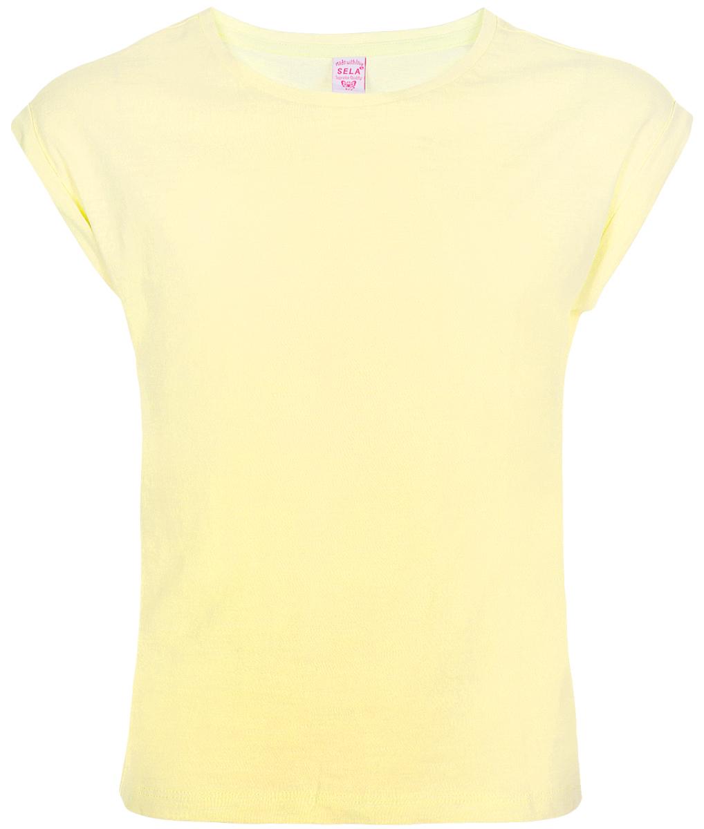 Футболка для девочки Sela, цвет: желтый. Ts-611/1261-8223. Размер 152