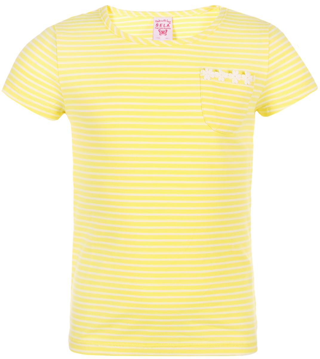 Футболка для девочки Sela, цвет: желтый. Ts-511/489-8223. Размер 116Ts-511/489-8223Футболка от Sela выполнена из эластичного хлопкового трикотажа. Модель с короткими рукавами и круглым вырезом горловины дополнена нагрудным кармашком.