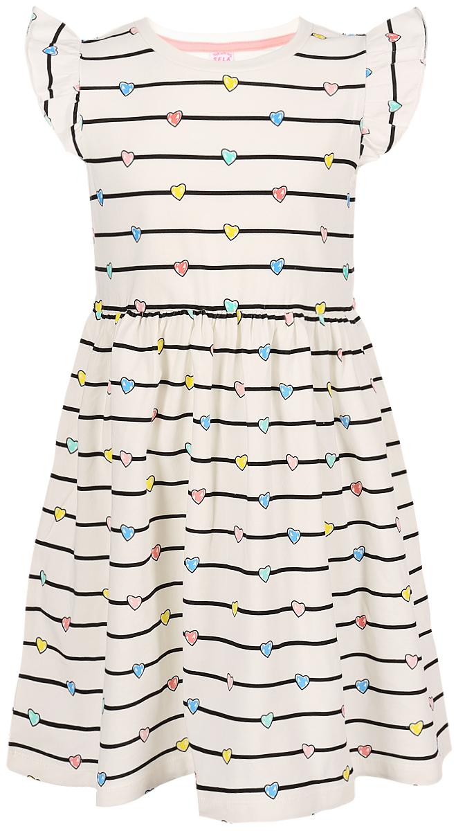 Платье для девочки Sela, цвет: слоновая кость. Dksl-517/421-8213. Размер 98 платье sela sela se001ewznc53