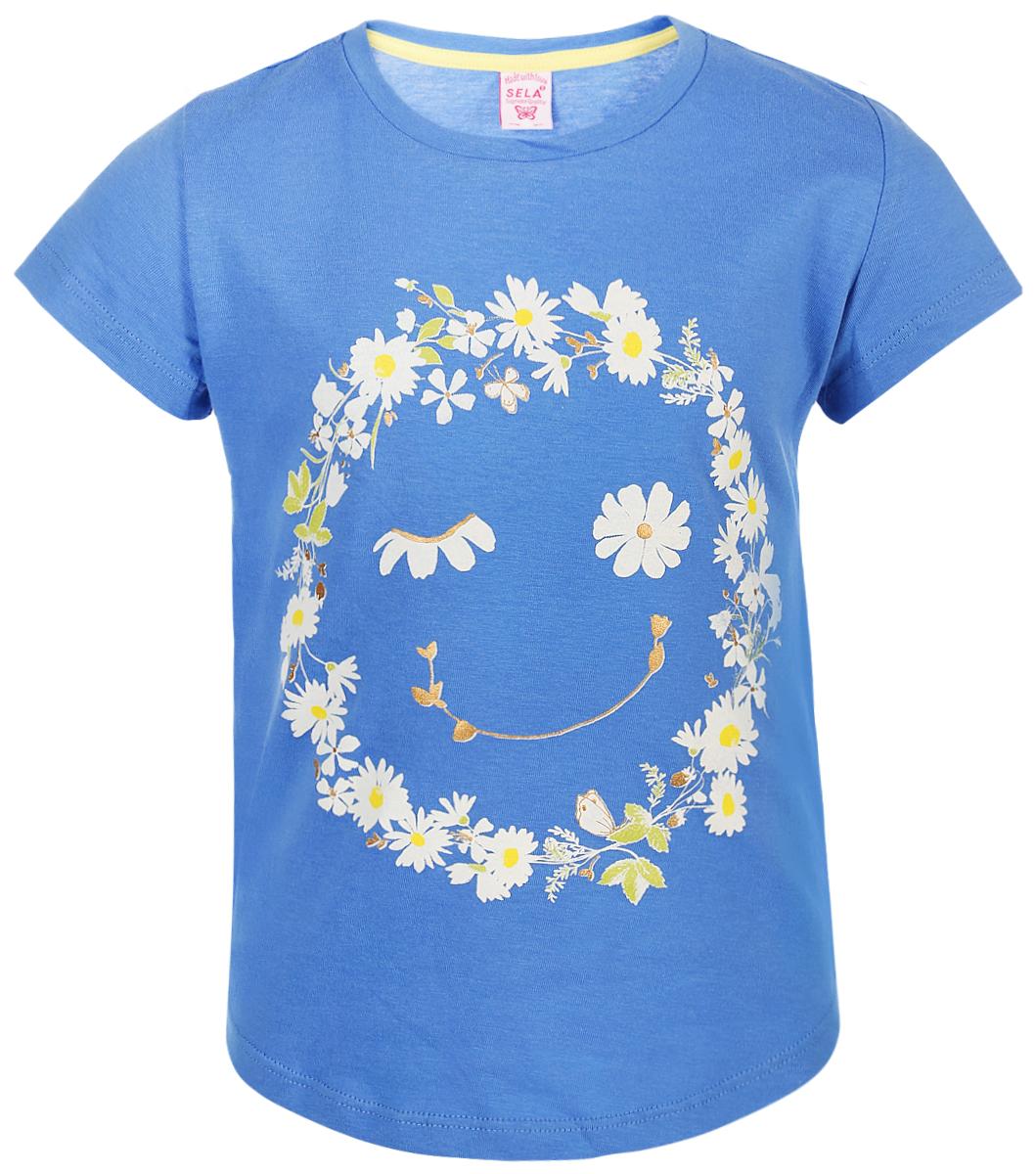 Футболка для девочки Sela, цвет: голубой. Ts-511/487-8223. Размер 116Ts-511/487-8223Футболка от Sela выполнена из натурального хлопкового трикотажа. Модель с короткими рукавами и круглым вырезом горловины спереди оформлена принтом.
