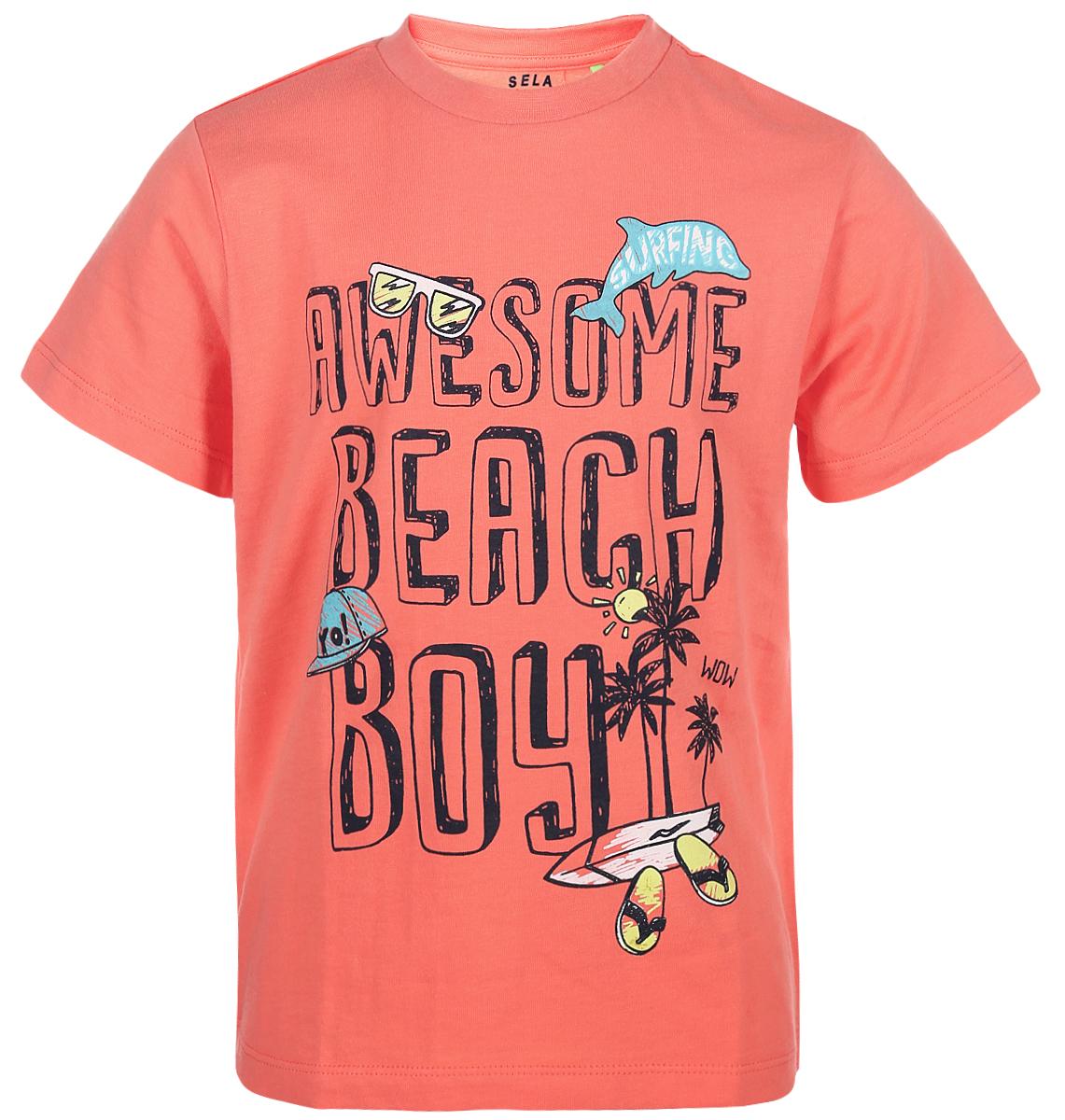 Футболка для мальчика Sela, цвет: коралловый. Ts-711/562-8234. Размер 116 футболка для мальчика sela цвет белый ts 711 567 8234 размер 116 6 лет
