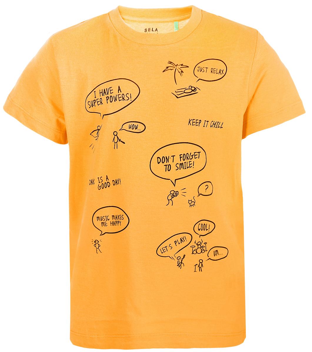 Футболка для мальчика Sela, цвет: желтый. Ts-711/584-8112. Размер 110 цена