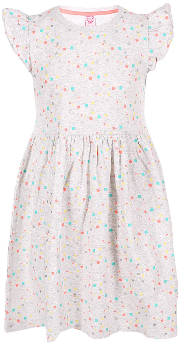 Платье для девочки Sela, цвет: светло-серый. Dksl-517/421-8213. Размер 110 платье sela sela se001ewznc53