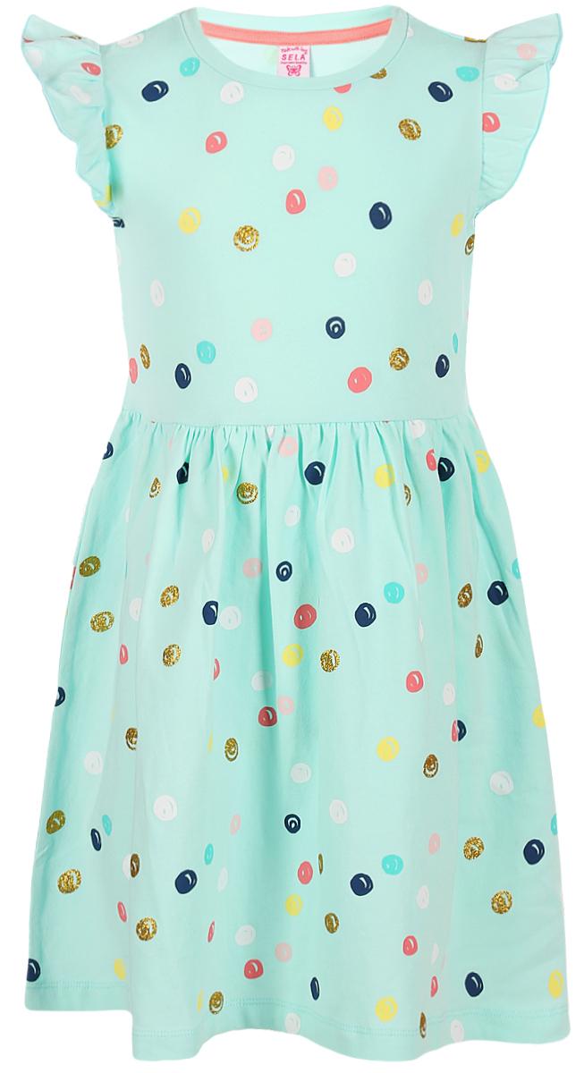Платье для девочки Sela, цвет: голубой. Dksl-517/421-8213. Размер 92