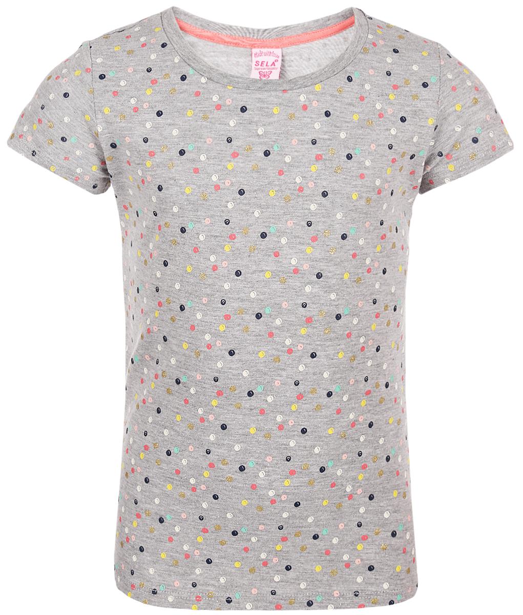 Футболка для девочки Sela, цвет: серый. Ts-511/484-8213. Размер 116 футболка для девочки sela цвет розовый ts 511 486 8213 размер 116 6 лет