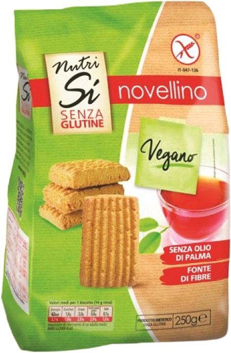Nutrifree Novellino печенье вегетарианское, 250 г milka шоколад chips ahoy молочный шоколад с кусочками печенья 100 г