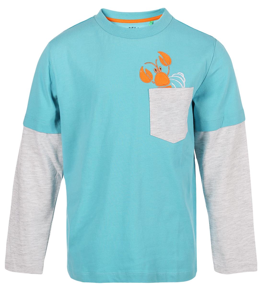 Джемпер для мальчика Sela, цвет: бирюзовый. T-711/548-8132. Размер 116