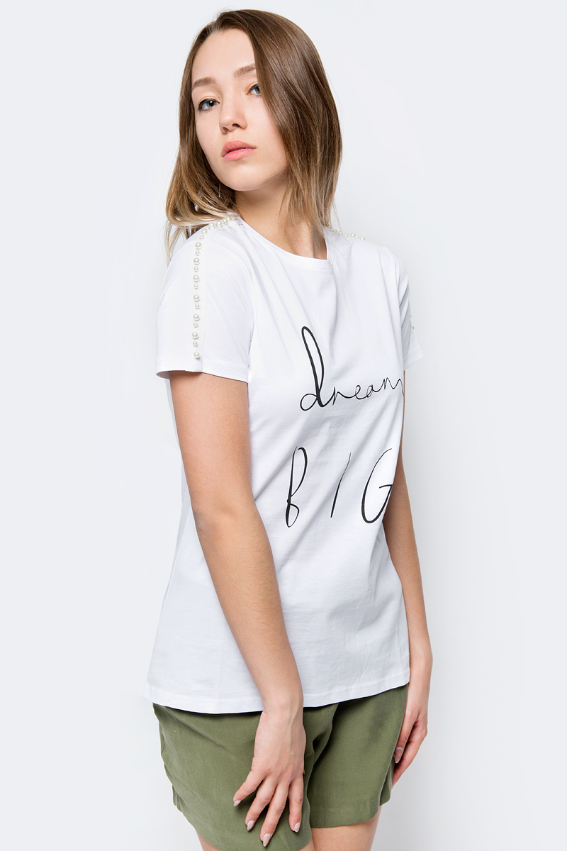 Футболка женская adL, цвет: белый. 17534266000_002. Размер XS (40/42) футболка женская adl цвет черный 17532987001 001 размер xs 40 42