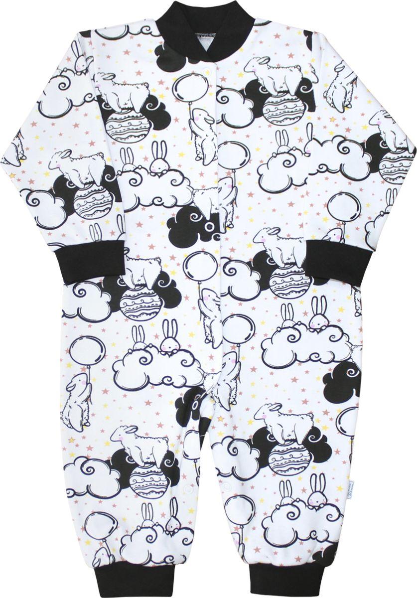 Комбинезон домашний детский Веселый малыш One, цвет: черный, белый. 251/152/One-E (1)_зайцы в облаках. Размер 80 комбинезоны и полукомбинезоны веселый малыш комбинезон мишутка 51142 one