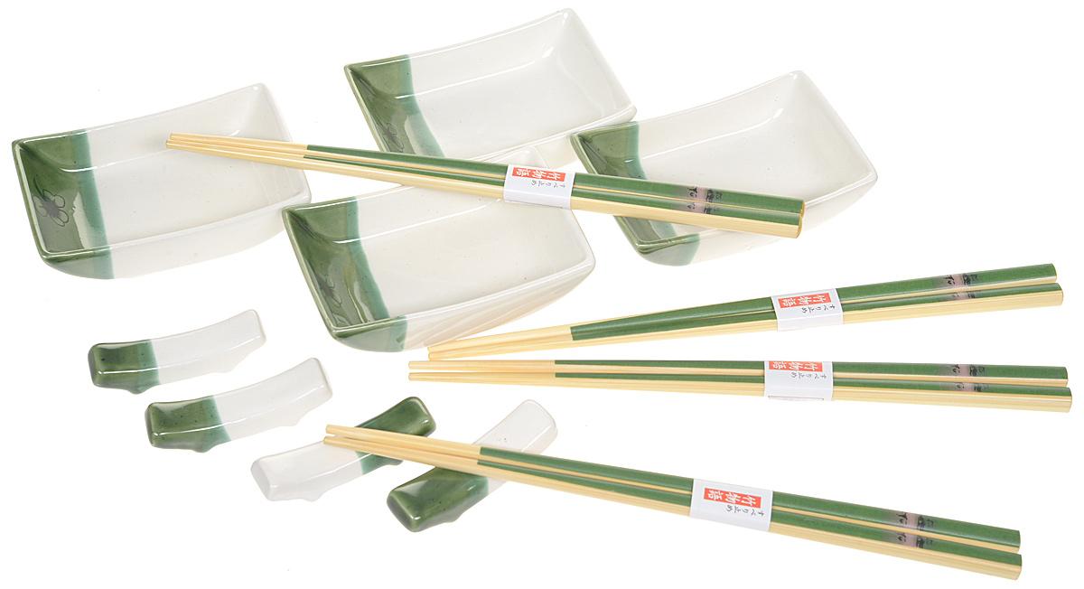 Набор для суши, цвет: белый, зеленый, светло-бежевый, 12 предметов набор палочек для суши на 5 персон 25 11 2см уп 1 100наб