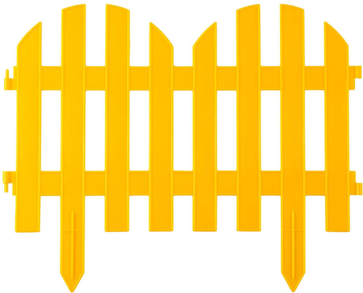 Забор декоративный Grinda Палисадник, цвет: желтый, 28 x 300 см