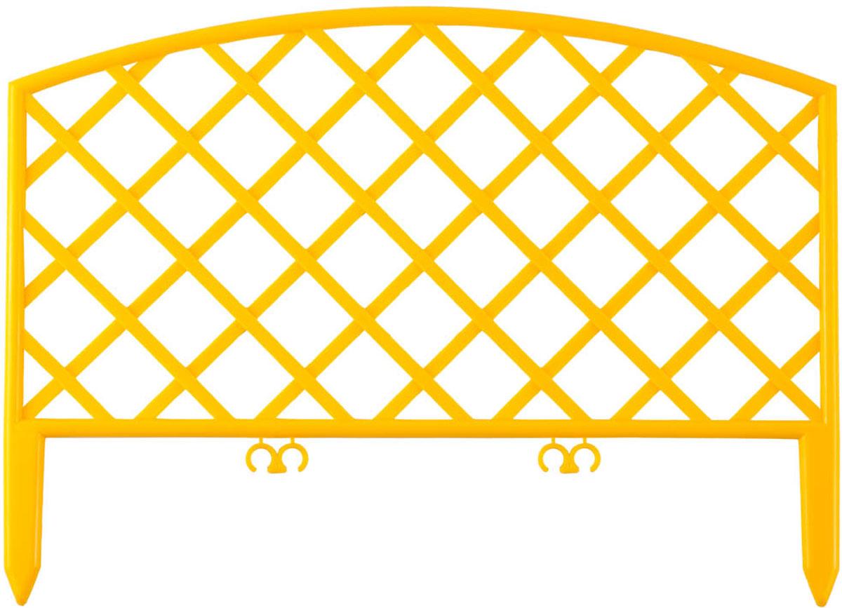 Забор декоративный Grinda Плетень, цвет: желтый, 24 x 320 см422207-YКрасиво оформить и украсить сад при проведении ландшафтных работпризваны специальные высококачественные долговечные ограждения дляклумб и декоративные заборы. Различные формы и цвета способны воплотитьлюбые творческие замыслы, а высокопрочный атмосферостойкий пластикобеспечит длительный срок службы изделий. Идеально подходит длязонирования парка или сада. Изготовлен из полипропилена, устойчивого квоздействию ультрафиолетовых лучей. Семь секций для формированиянеобходимых зон на участке.- Материал: полипропилен.- Размер:28х320 см.- Цвет: терракот. - Количество секций: 7 шт.