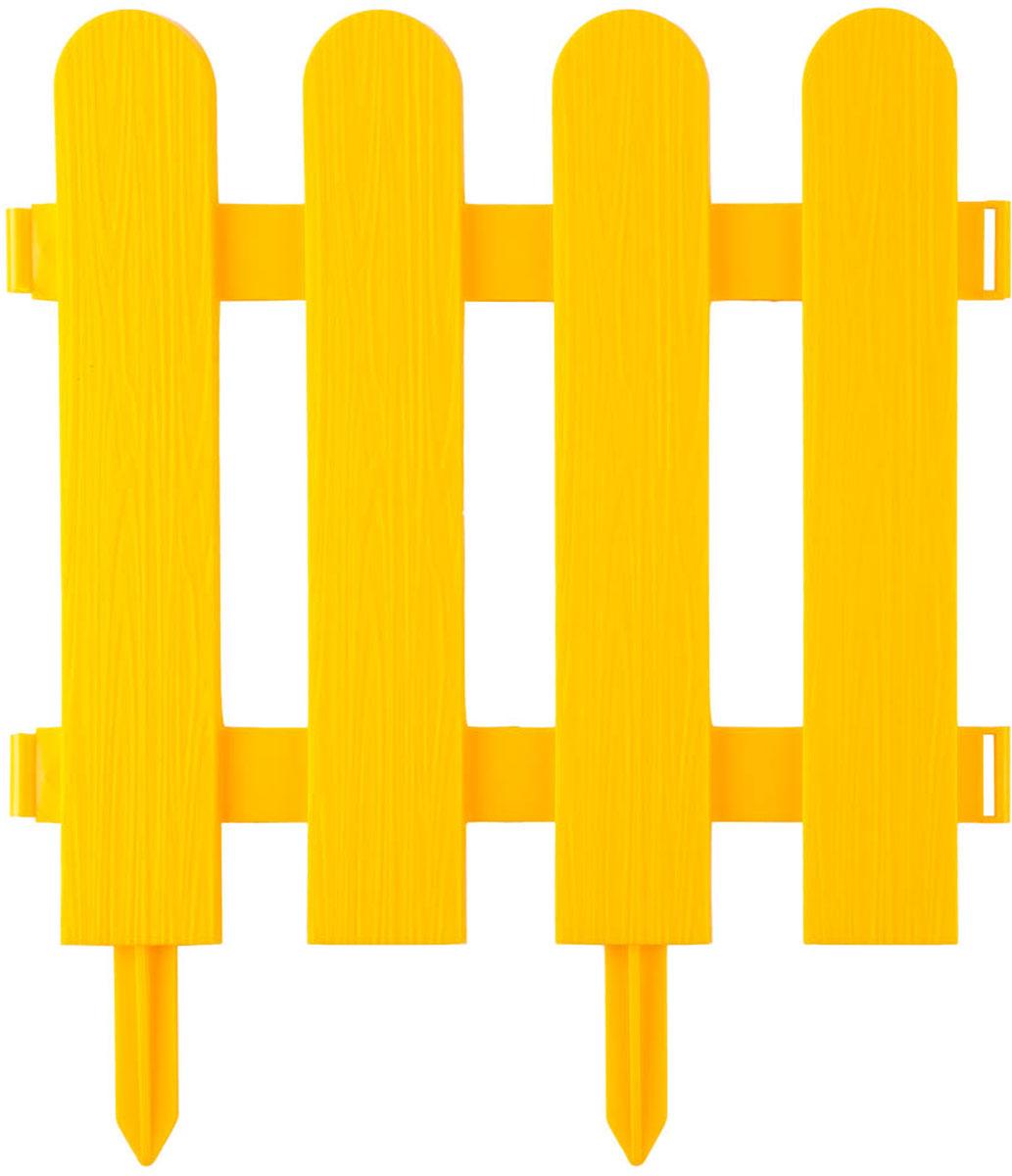 Забор декоративный Grinda Штакетник, цвет: желтый, 29 x 224 см