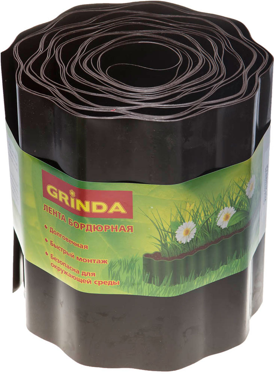 цена на Лента бордюрная Grinda, цвет: коричневый, 20 см х 9 м