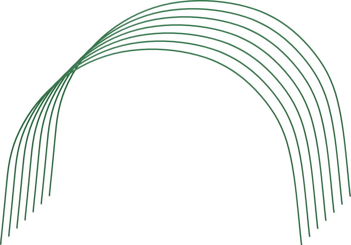 Дуги для парника Grinda предназначены для сборки парника с использованием пленки или укрывного материала. Прочность конструкции обеспечивается использованием стальной проволоки диаметром 5 мм. Порошковая окраска защищает дуги от коррозии. Размер конструкции 1,7 х 0,6 х 0,85 м.
