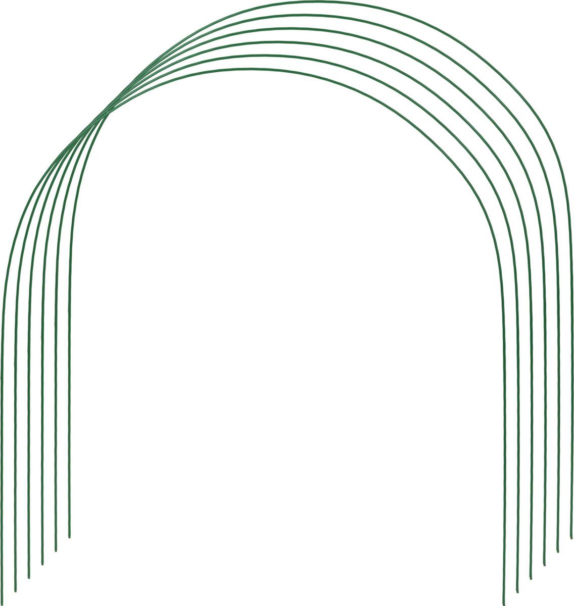 Дуги для парника Grinda предназначены для сборки парника с использованием пленки или укрывного материала. Прочность конструкции обеспечивается использованием стальной проволоки диаметром 5 мм. Порошковая окраска защищает дуги от коррозии. Размер конструкции 2,2 х 0,85 х 0,88 м.