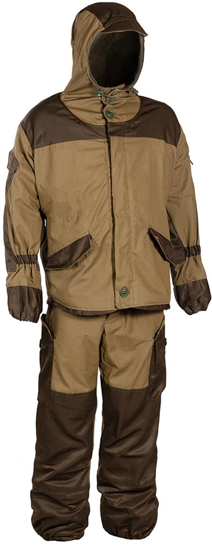 Костюм рыболовный штурмовой мужской Huntsman Горка-V, цвет: хаки. gpgr_101. Размер 52/54gpgr_101-521Костюм штурмовой демисезонный свободного кроя, крепление пуговиц усилено киперной лентой. Модель дополнена карманами, капюшон с козырьком, низ рукавов и брюк на резинке, усиление на локтях, коленях и сзади, пояс на резинке со шлевками, пыльники с завязками, съемные помочи на пуговицах.