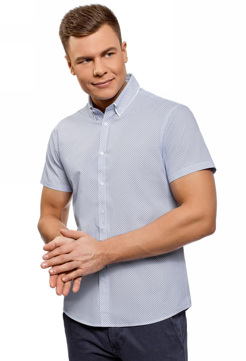 Рубашка мужская oodji Lab, цвет: белый, синий. 3L210053M/44425N/1075G. Размер 44 (56-182)3L210053M/44425N/1075GРубашка от oodji выполнена из натурального хлопка. Модель приталенного кроя с короткими рукавами и двойным отложным воротником застегивается на пуговицы.
